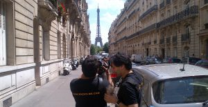 filming in Paris with Eiffel tower